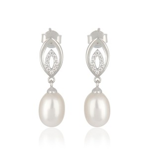 925 Sterling Silver Pearl Drop Cz Earrings For Women Wholeseller