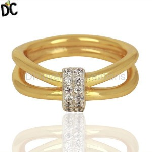 White Zircon Modern And Contemporary Two 18k Gold Plated Brass Wedding Ring