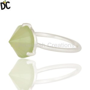 Green Chalcedony Gemstone Silver Ring handcrafted jewellery Supplier