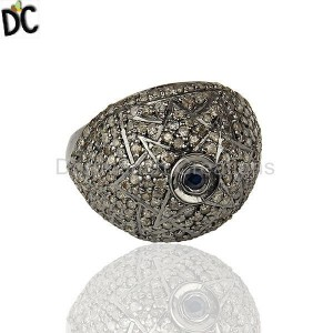 Victorian Estate Style Pave Diamond Blue Sapphire Gemstone 925 Silver Ring