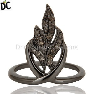 Oxidized Sterling Silver and Diamond Ring Beautiful Designer Jewelry