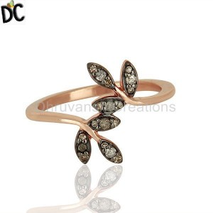 Rose Gold Plated Diamond Ring Jewelry Manufacturer From India