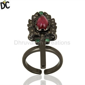 Antique Design 925 Silver Diamond Ring Manufacturer From Jaipur