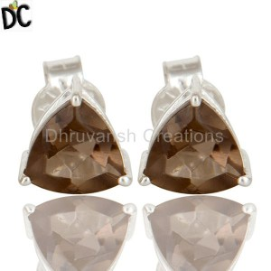 Smoky Quartz Gemstone Silver Earring online jewelry store Manufacturer