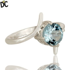 925 Silver Blue Topaz Gemstone Ring handcrafted jewelry Wholesaler