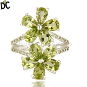 925 Silver Peridot & Topaz Ring Natural Gemstone Jewelry Manufacturer