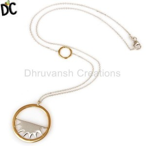 "18K Yellow Gold And Sterling Silver Handmade Half Moon Pendant With 16"" In Chain"
