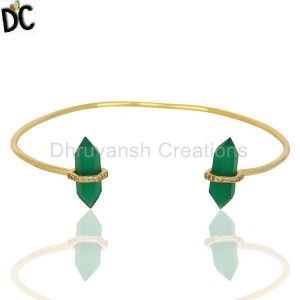 Green Onyx Pencil Point Healing Openable Adjustable Gold Plated Bangle