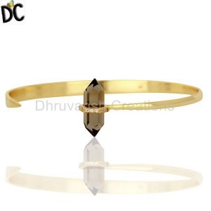 Smoky Topaz Pencil Openable Wide14K Gold Plated Sterling Silver Cuff Jewelry