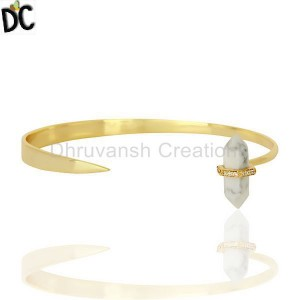 Howlite Pencil Openable Wide14K Gold Plated Sterling Silver Cuff Jewelry