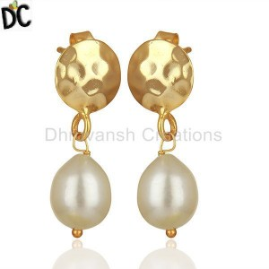 925 Silver Gold Plated Natural Pearl Drop Earrings Wholesale Suppliers