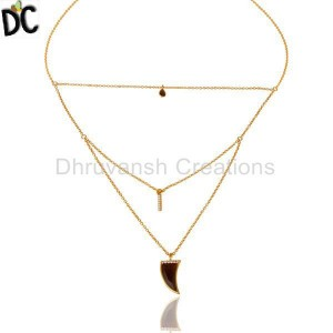 Smoky Topaz Triple Layer Unisex Cz Gold Plated Sterling Silver Pendent
