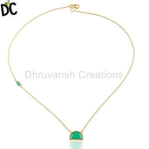 Green Onyx Half Moon Cz Studded 14K Gold Plated Sterling Silver Pendent