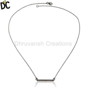 White Cz Studded Long Bar Necklace Black Rhodium Plated 92.5 Silver Necklace