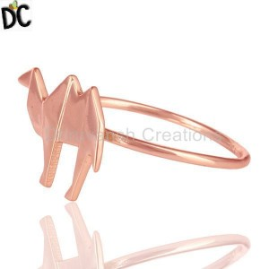 14K Rose Gold Plated 925 Sterling Silver Handmade Camel Design Stackable Ring
