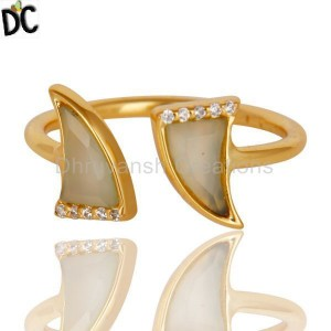 Aqua Chalcedony Two Horn Cz Studded Adjustable 14K Gold Plated 92.5 Silver Ring