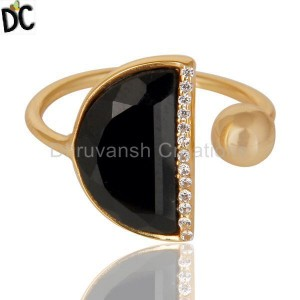Black Onyx Half Moon Ring Cz Studded 14K Gold Plated Sterling Silver Ring