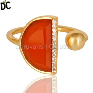 Red Onyx Half Moon Ring Cz Studded 14K Gold Plated Sterling Silver Ring