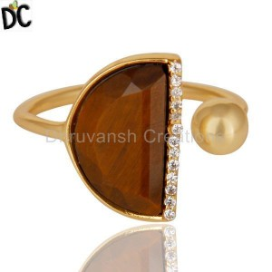 Tigereye Half Moon Ring Cz Studded 14K Gold Plated Sterling Silver Ring