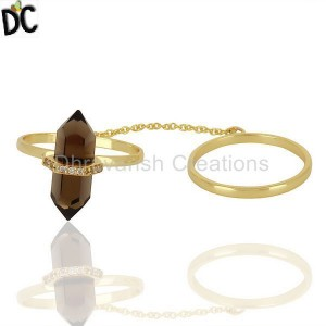 Smoky Topaz And White Cz Studded Two Finger Ring Gold Plated Silver Jewelry