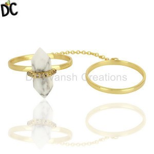 Howlite And White Cz Studded Two Finger Ring Gold Plated Silver Jewelry