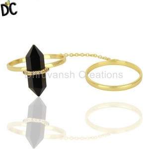 Black Onyx And White Cz Studded Two Finger Ring Gold Plated Silver Jewelry