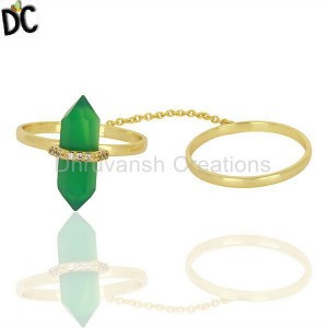 Green Onyx And White Cz Studded Two Finger Ring Gold Plated Silver Jewelry