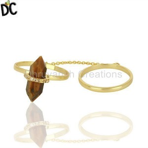 Tigereye And White Cz Studded Two Finger Ring Gold Plated Silver Jewelry
