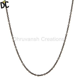 Oxidized 925 Solid Sterling Silver Cable Link Chain Necklace
