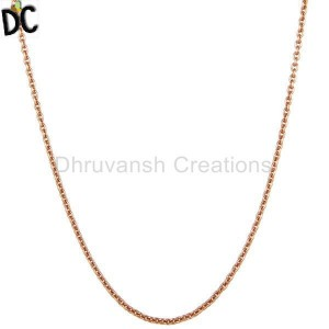 18K Rose Gold Plated Sterling Silver Cable Link Chain Necklace
