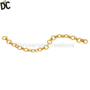 22K Gold Plated Sterling Silver Chain Jewelry Finding Assesories