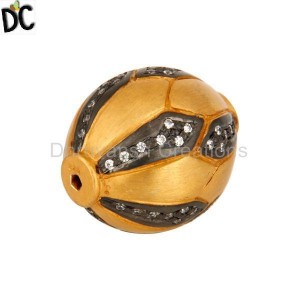 Gold Plated Sterling Silver Studded CZ Spacer Finding Ball Beads Jewelry