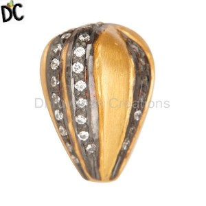 18K Gold Plated Sterling Silver Pave CZ Beads Findings Jewelry
