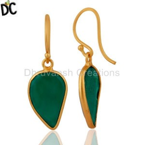 Green Onyx Gemstone Gold Plated 925 Silver Designer Earring Wholesale