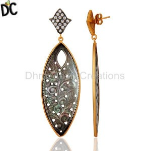 Mother of Pearl Gemstone Gold Plated Earring Wholesale Supplier