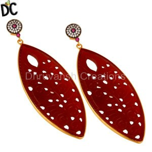 Designer Gold Plated Silver Cz & Red Onyx Gemstone Earring Wholesale