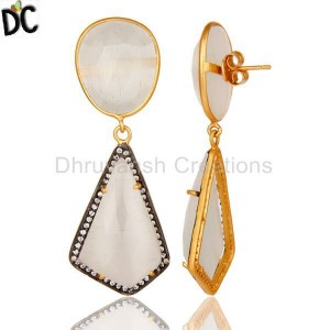 White Moonstone & Cz Gemstone Gold Plated 925 Silver Designer Earring