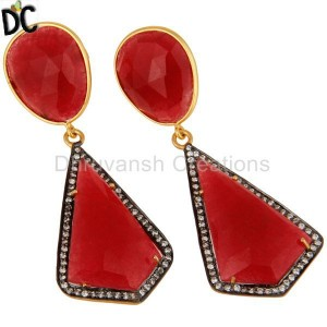 Handmade Silver Red Aventurine & Cz Gemstone Designer Earring Hot Sale