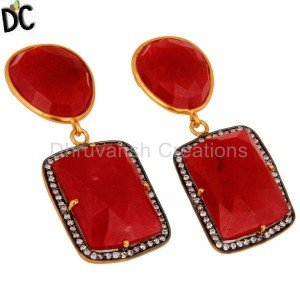 Silver Faceted Red Aventurine Fancy Shape Gemstone Earring Wholesaler