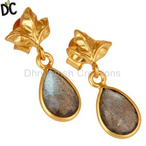 Natural Labradorite Gemstone Silver Earring Jewelry Manufacturer