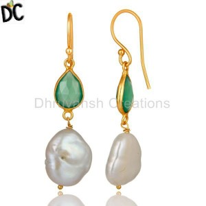 Green Onyx & Pearl Gemstone Gold Plated Silver Earring Manufacturer