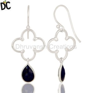 Solid Sterling Silver Lapis Lazuli Gemstone Dangle Earring Supplier