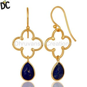 925 Silver Lapis Lazuli Gemstone Artisan Dangle Handmade Earrings