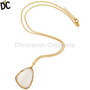 Gold Plated Silver Crystal Quartz Pendant Chain Jewelry Manufacturer