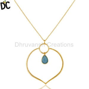 Gold Plated 925 Silver Chalcedony Gemstone Pendant handcrafted jewelry