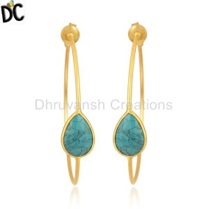 Turquoise Gemstone Gold Plated Brass Fashion Hoop Earrings
