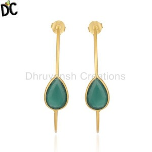 Green Onyx Gemstone Gold Plated Brass Fashion Hoop Earring Wholesale