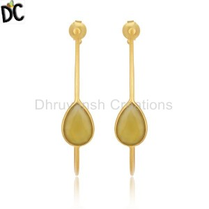 Yellow Chalcedony Gemstone Gold Plated Brass Fashion Hoop Earring