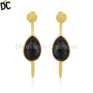 Black Onyx Gemstone Gold Plated Brass Fashion Hoop Earring Supplier