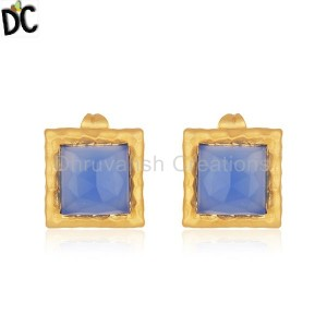 Blue Chalcedony Gemstone Brass Fashion Gold Plated Stud Earrings